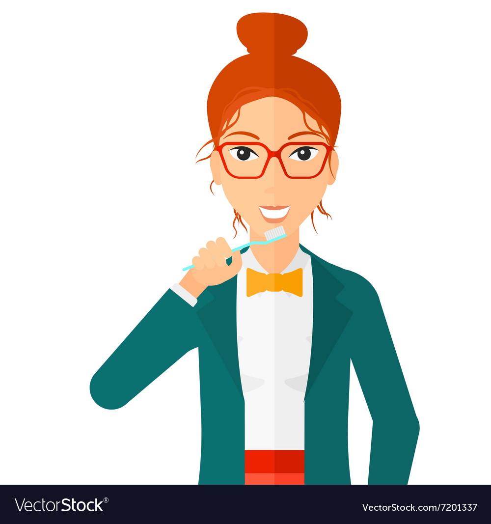 Woman brushing teeth vector image