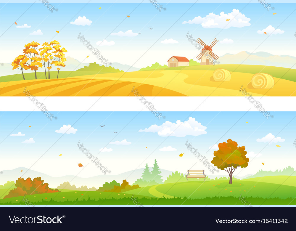 Autumn countryside banners