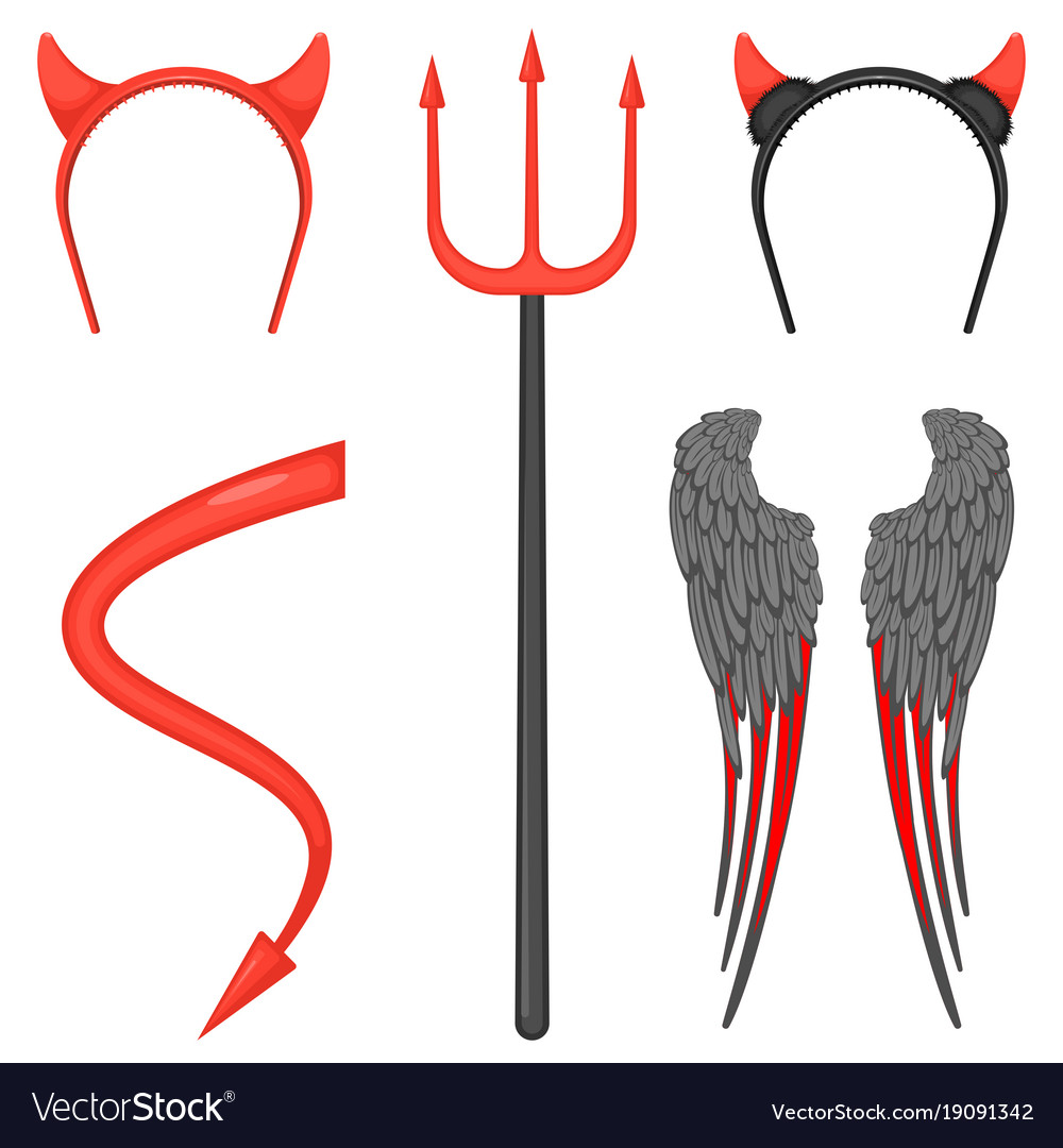 Devil costume accessories for halloween isolated Vector Image 9f8ff967dec3