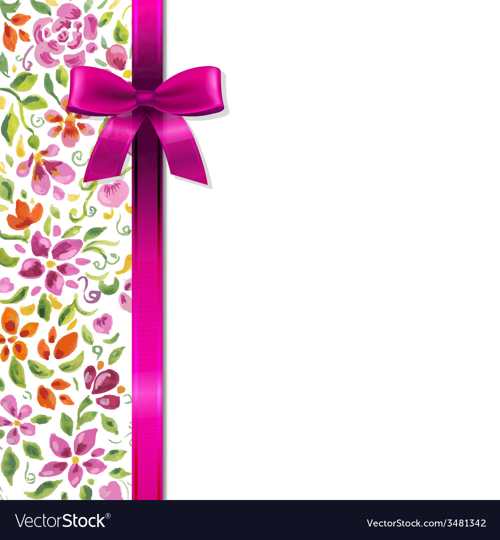 Flowers Card With Ribbon vector image
