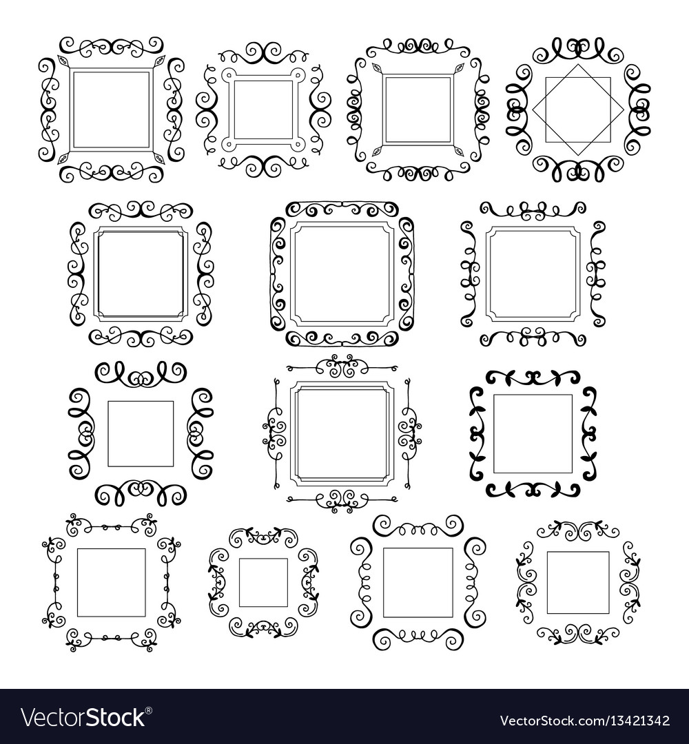 Hand drawn flourishes frames banners vector image