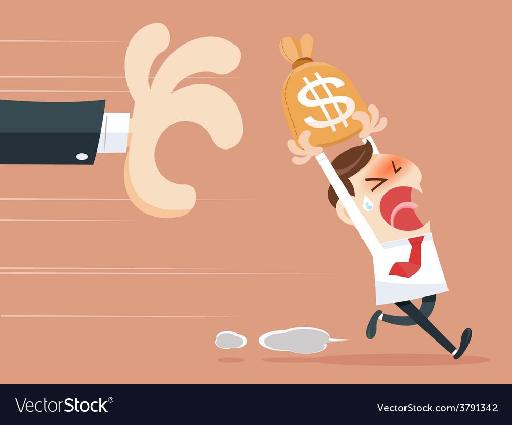 Hand grabbing money bag