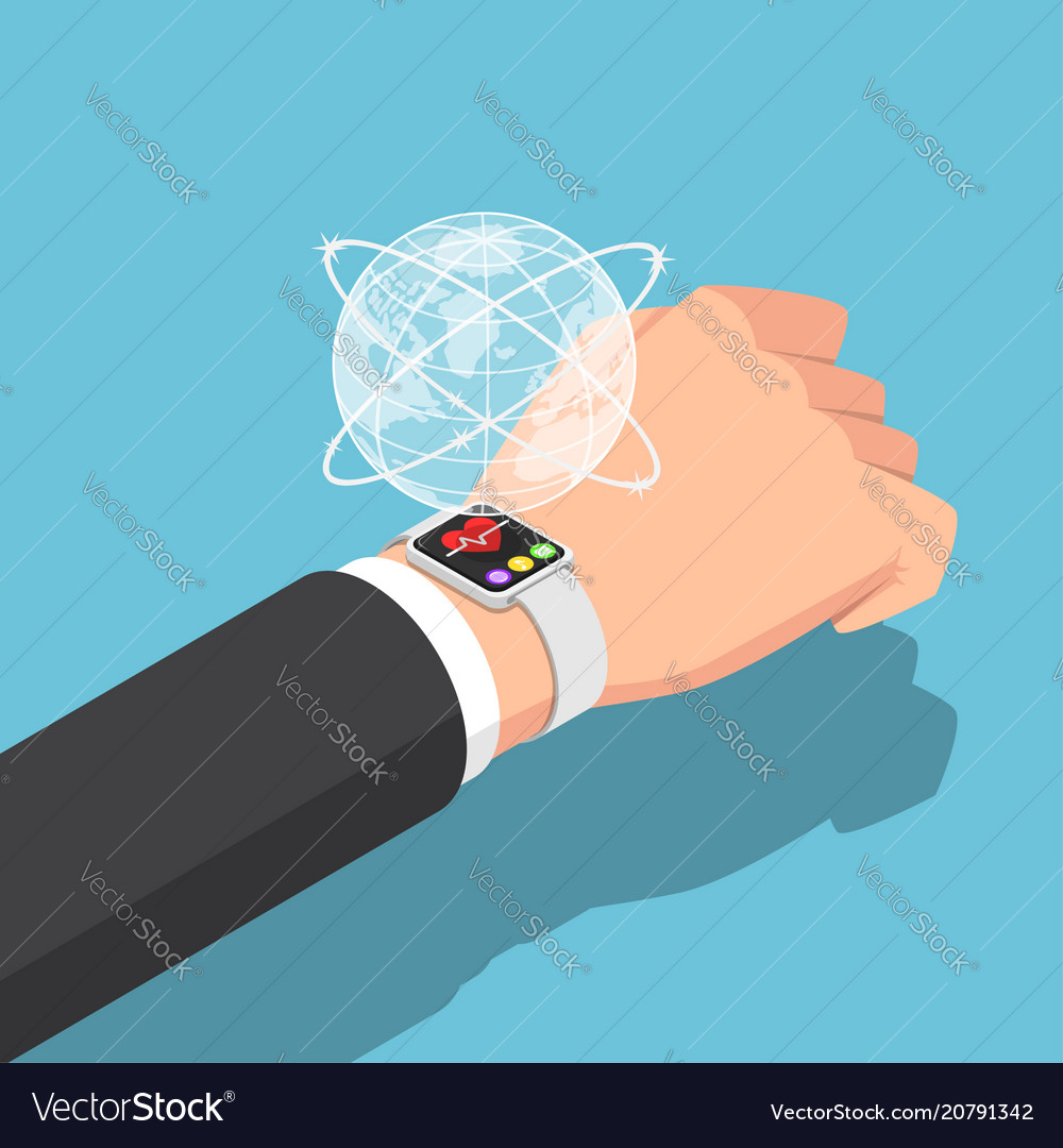 Isometric businessman with smartwatch on his wrist