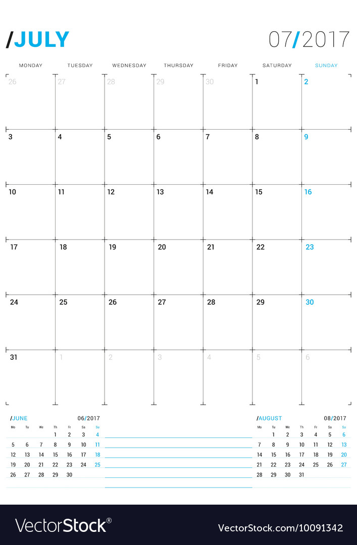 July 2017 Print Template Monthly Calendar Vector Image