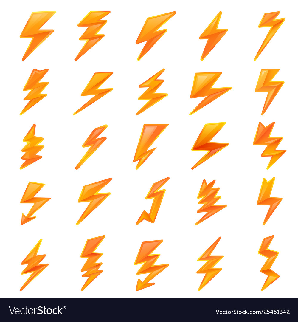 Lightning bolt icons set cartoon style