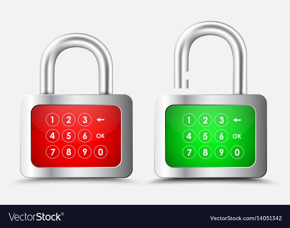 Metal rectangular padlock with a red and green