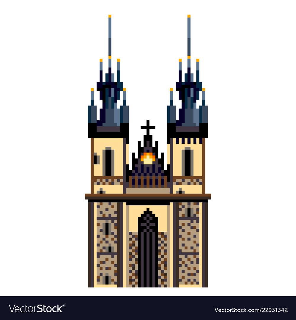 Pixel prague tyn church city symbol detailed