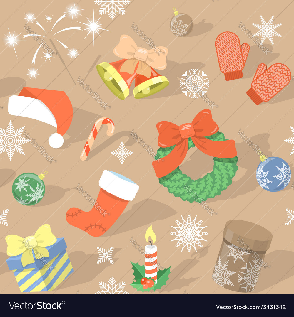 Seamless HolidayPattern with Christmas Symbols