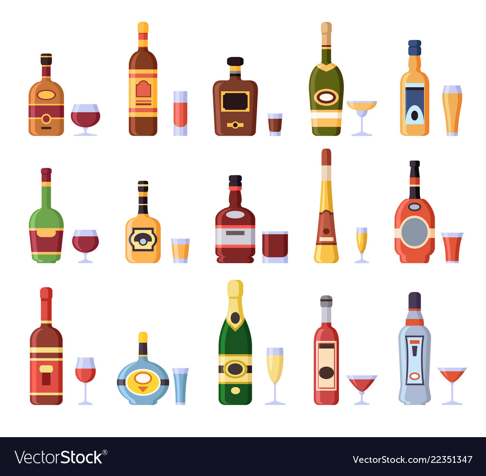 Alcohol bottles and glasses alcoholic bottle with
