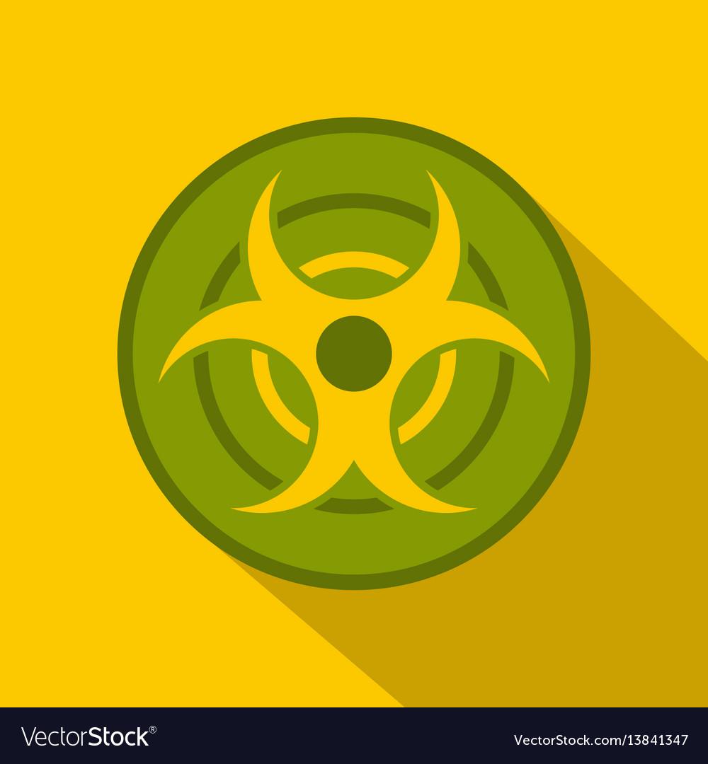 Biohazard Symbol Icon Flat Style Royalty Free Vector Image