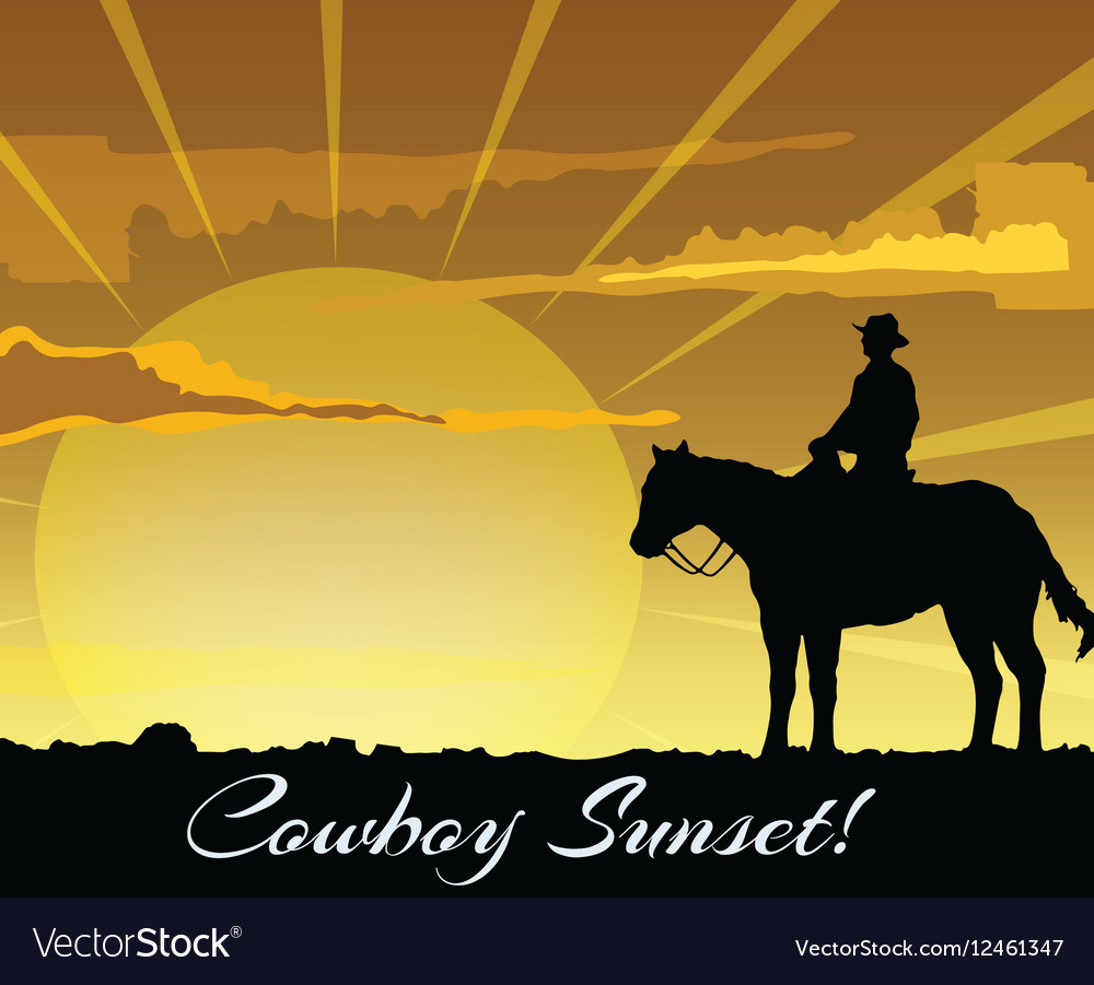 Cowboy silhouette at sunset