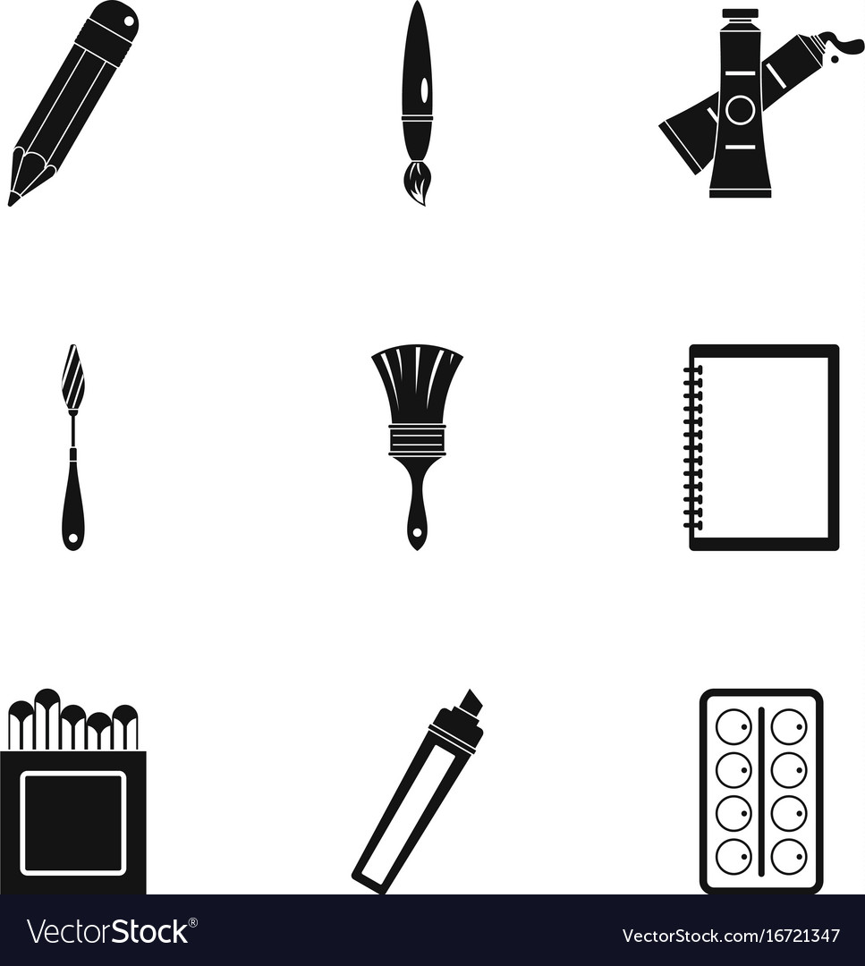 Designer workspace icons set simple style