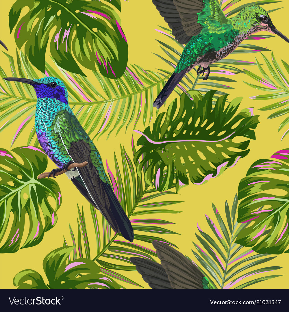 Floral tropical seamless pattern with humming bird