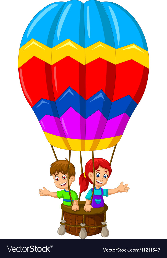 funny two kids cartoon flying in a hot air balloon rh vectorstock com cartoon hot air balloon black and white cartoon hot air balloon background