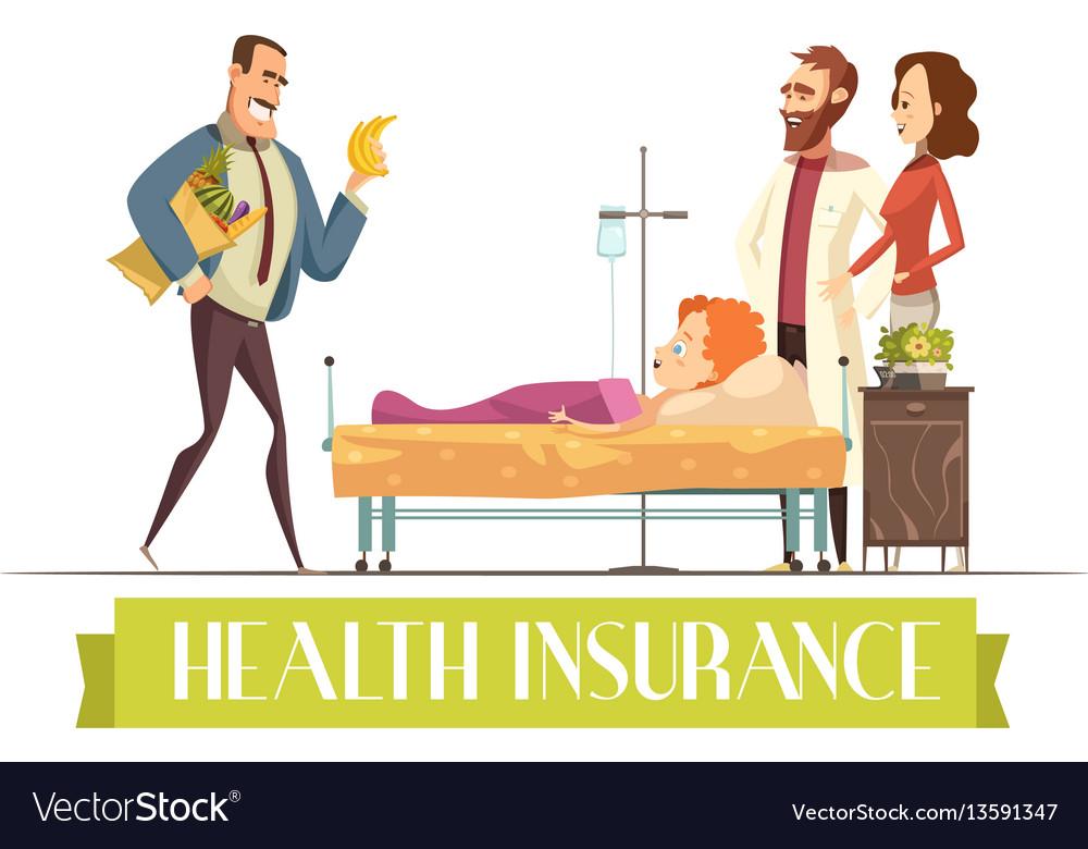 Heath insurance agent work cartoon vector image