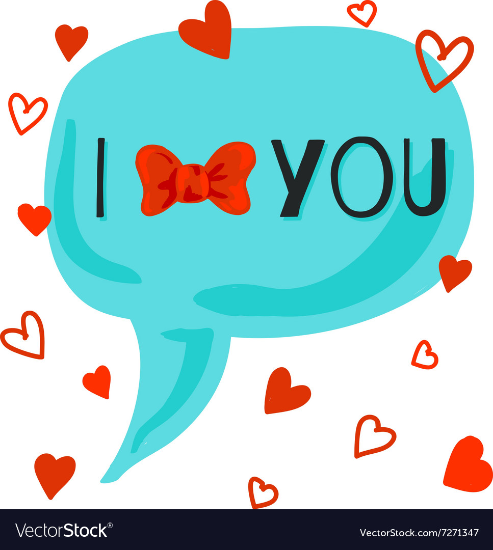 I love you card with bow-knot