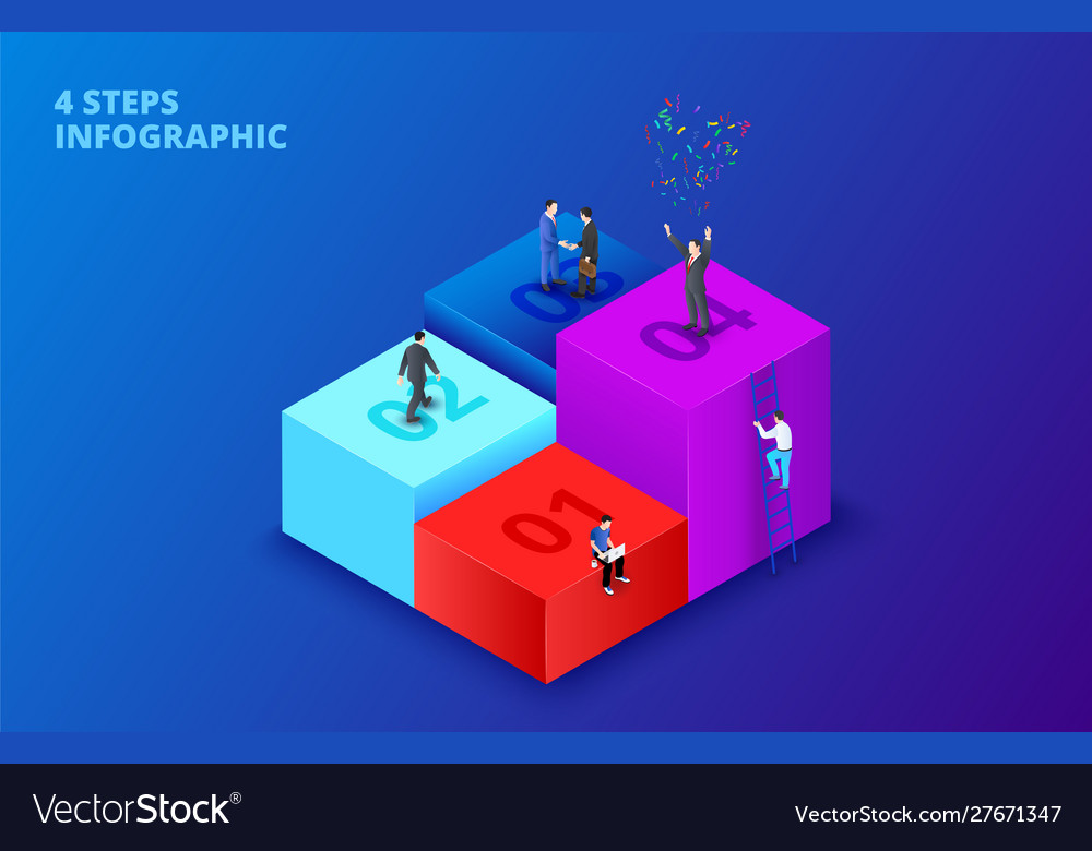 Isometric cubes with people infographic on
