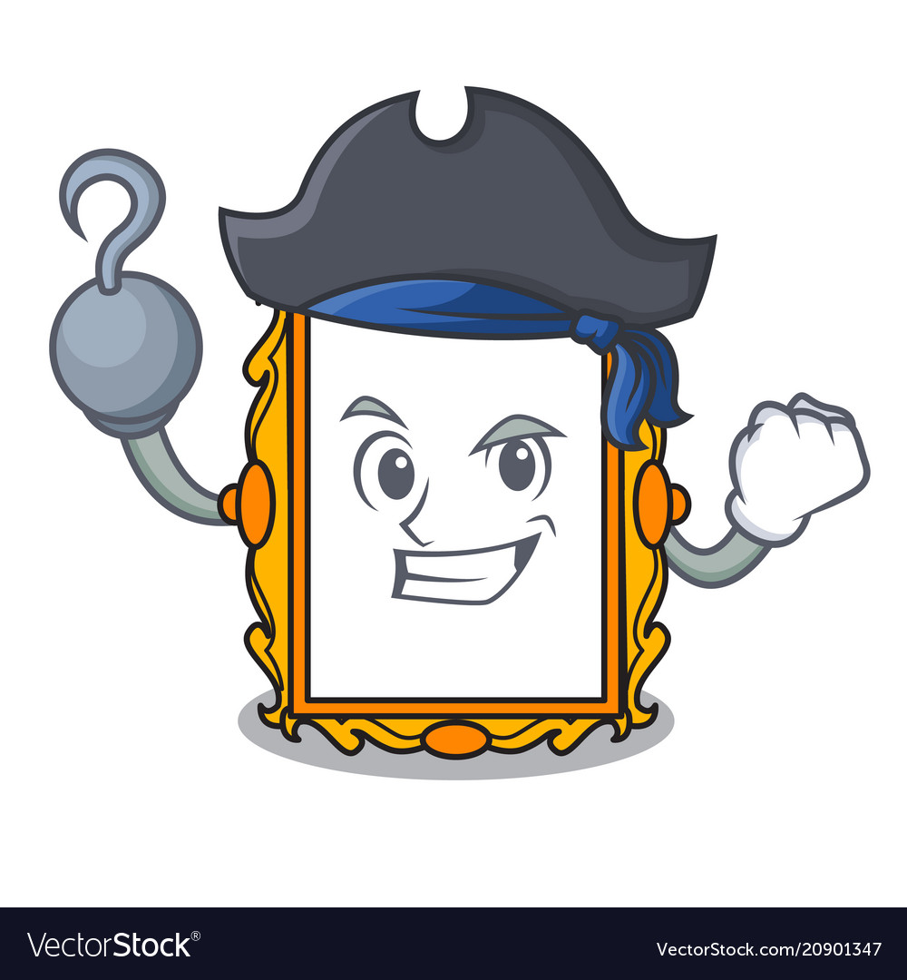 Pirate picture frame character cartoon Royalty Free Vector