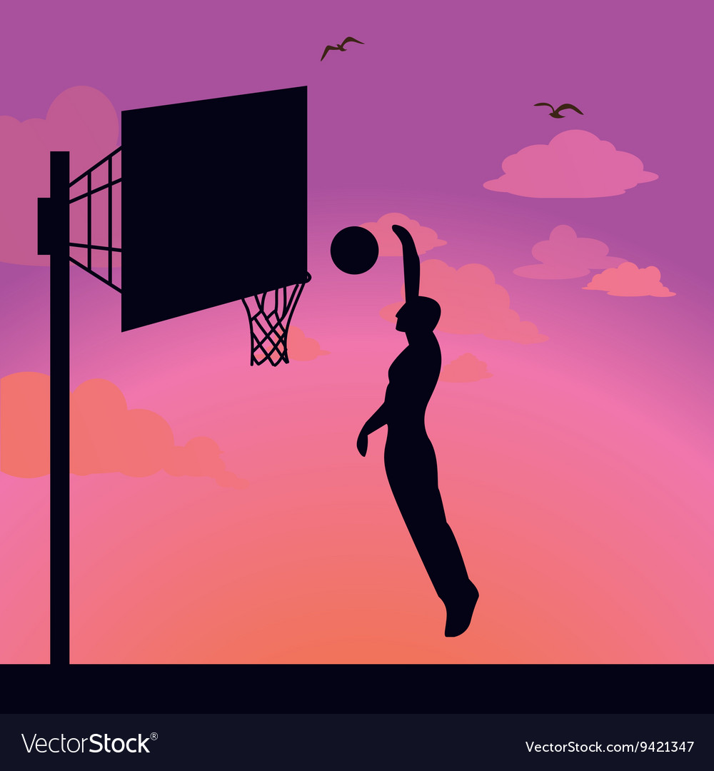 Silhouette man athlete player jump action basket