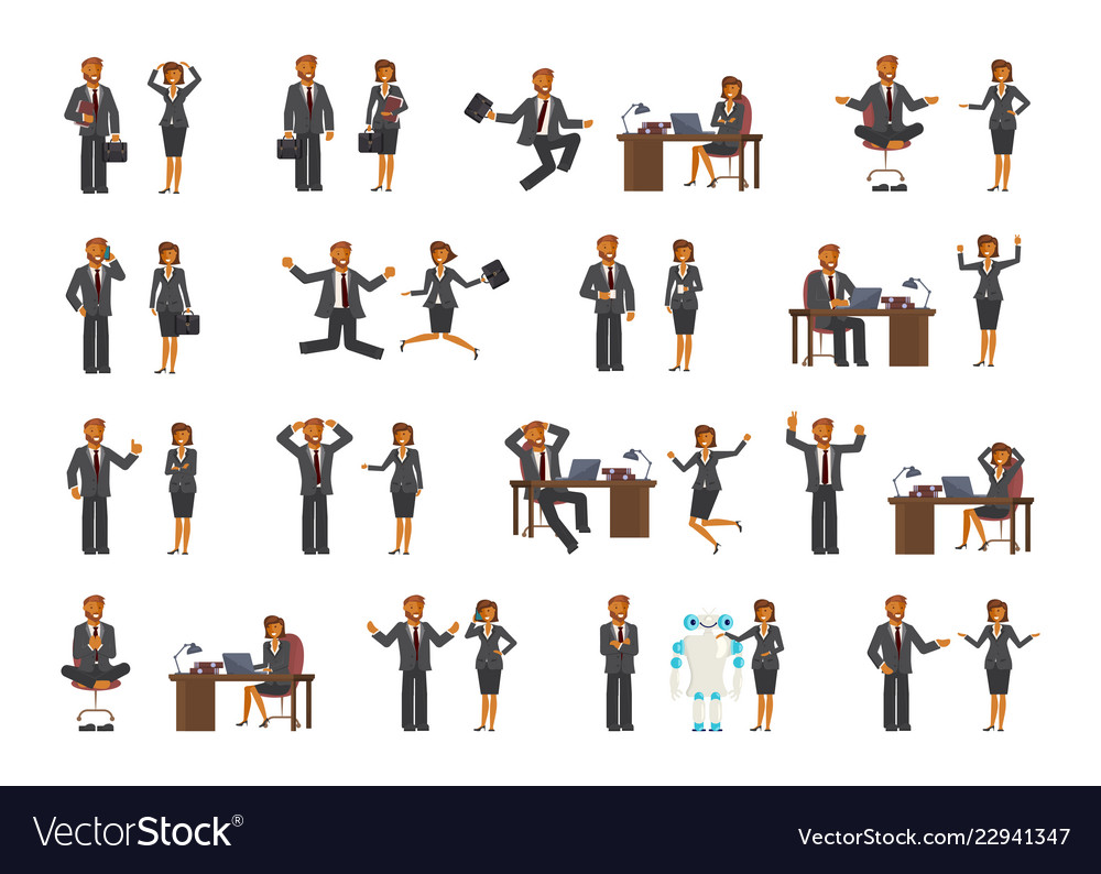 Smart businessman and business woman characters