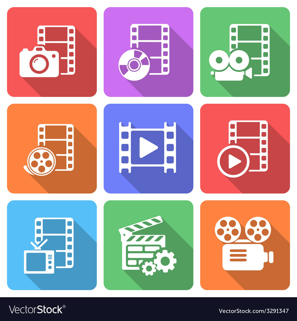 Trendy flat film icon pack