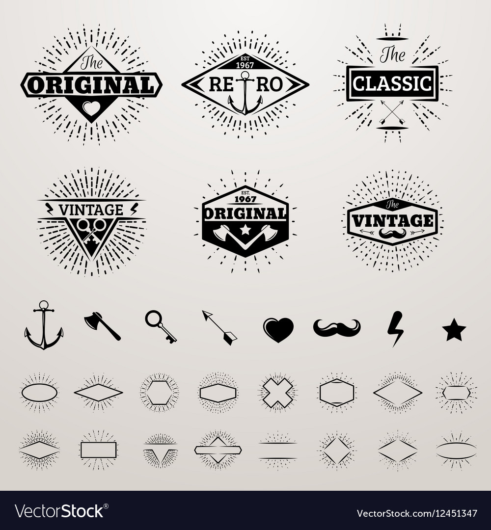 Vintage lines insignia set with star burst hipster