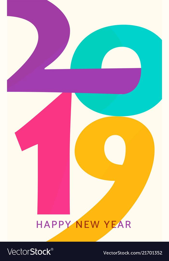 2019 happy new year vertical geometric