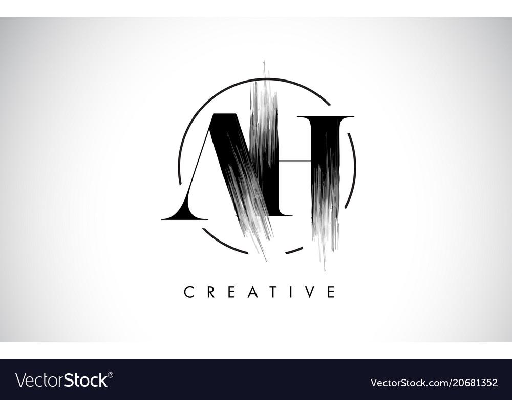 Ah brush stroke letter logo design black paint