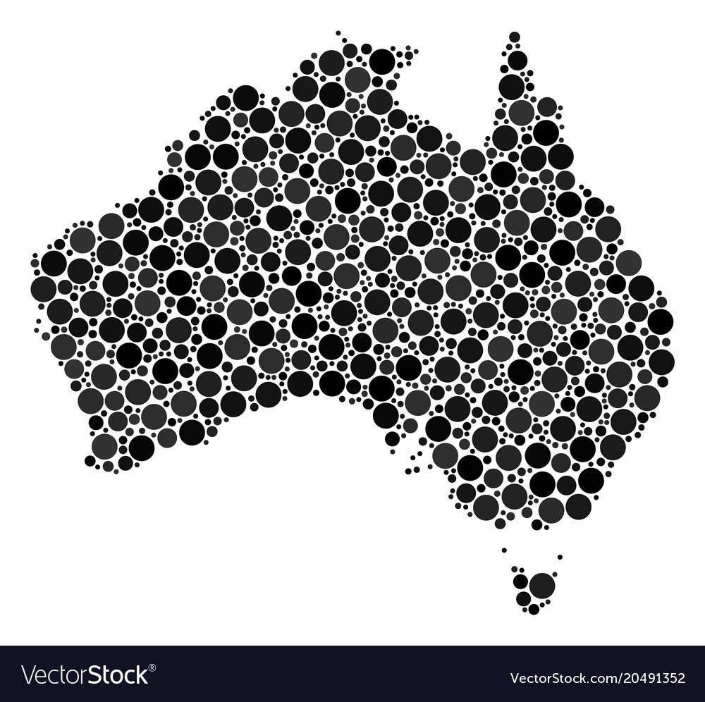 Australia Map Looks Like A Dog.Australia Map Composition Of Dots