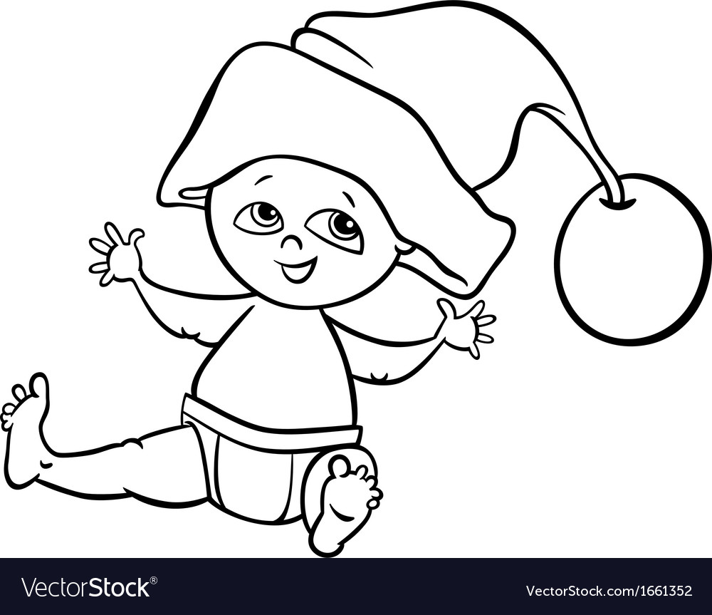 Baby boy santa cartoon coloring page Royalty Free Vector
