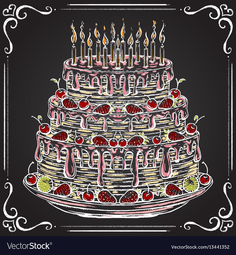 Birthday cake on the chalkboard