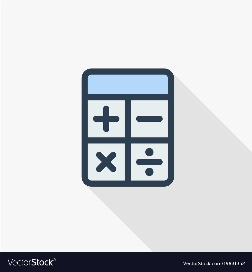 Calculator thin line flat color icon linear