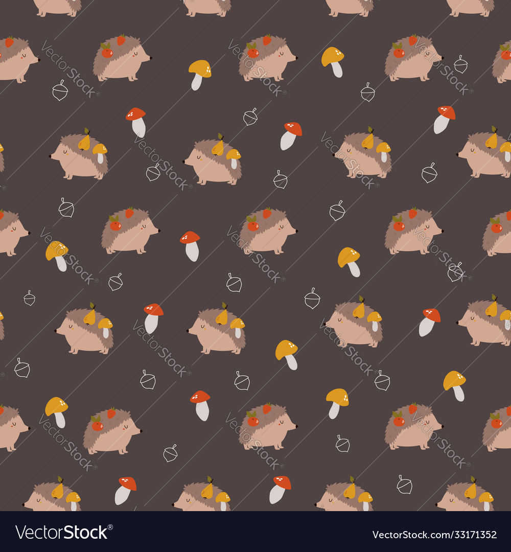 Cute seamless pattern with funny hedgehogs