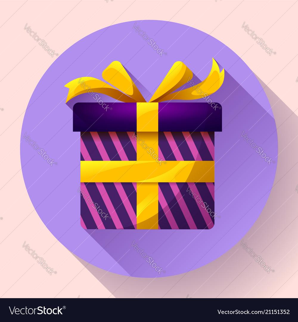 Gift box icon flat