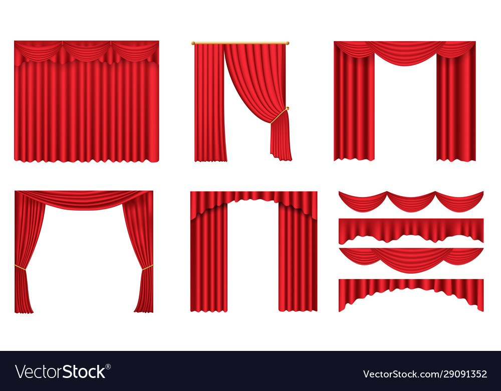 Luxury scarlet red silk velvet curtains and
