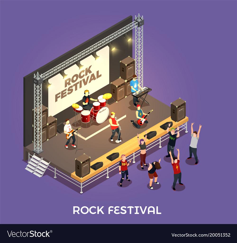 Rock festival isometric composition