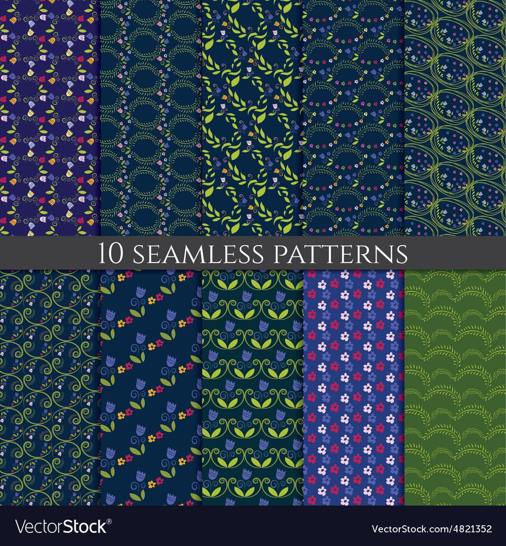 Set of flower seamless pattern