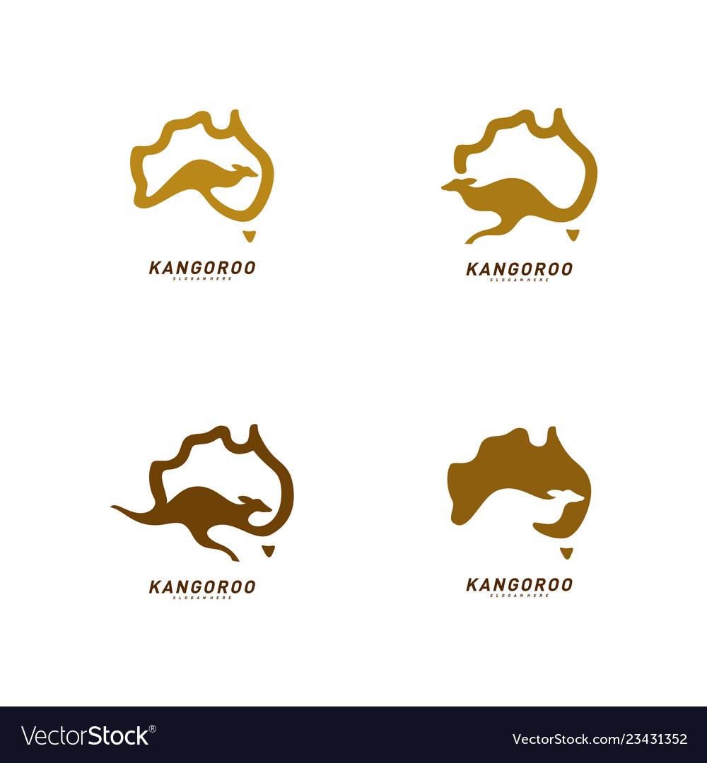 Map Of Australia Logo.Set Of Kangaroo And Australia Map Logo Design