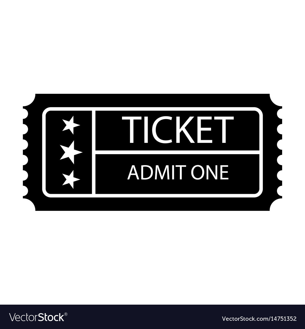 Ticket icon isolated black on the white
