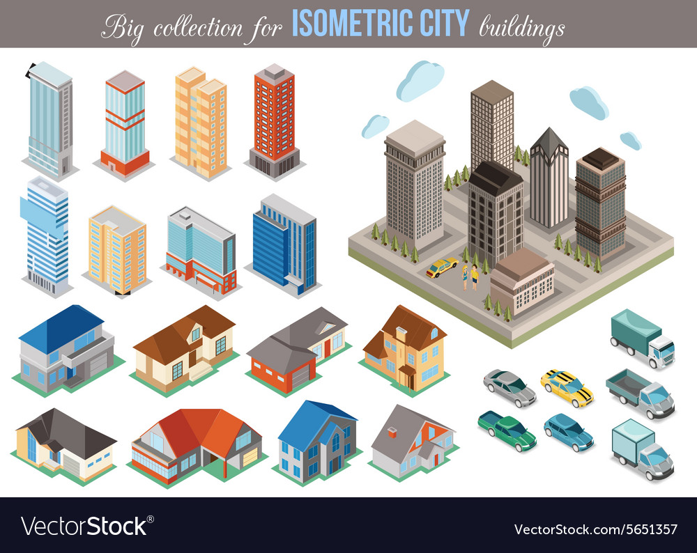 Big collection for isometric city buildings Set