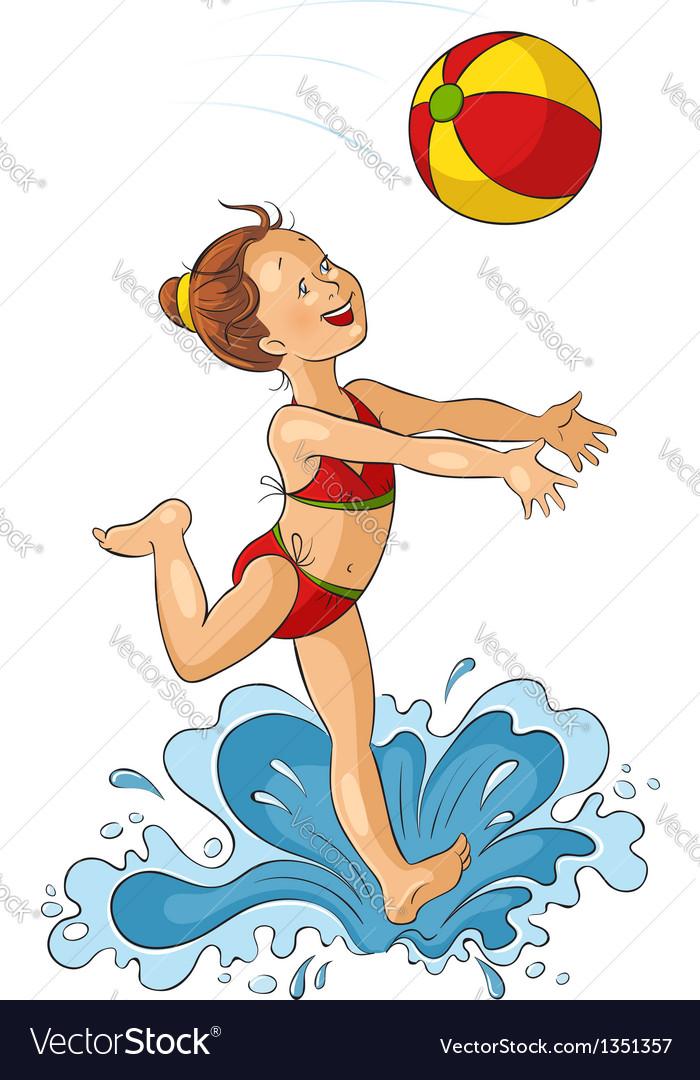 Cute little girl with beach ball vector image