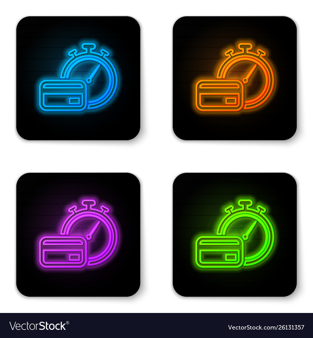 Glowing neon fast payments icon isolated on white
