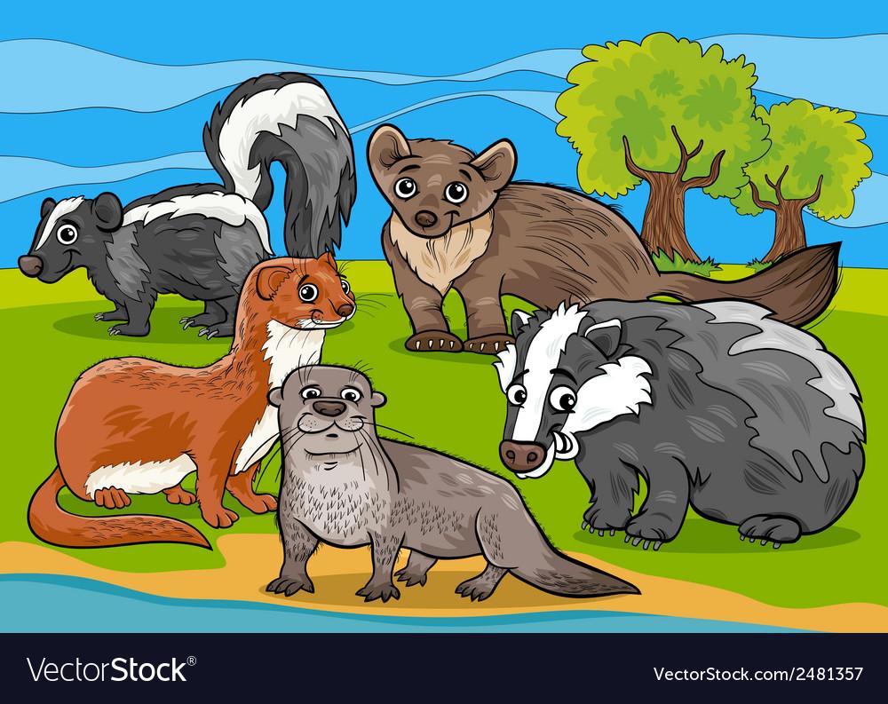 Mustelids animals cartoon