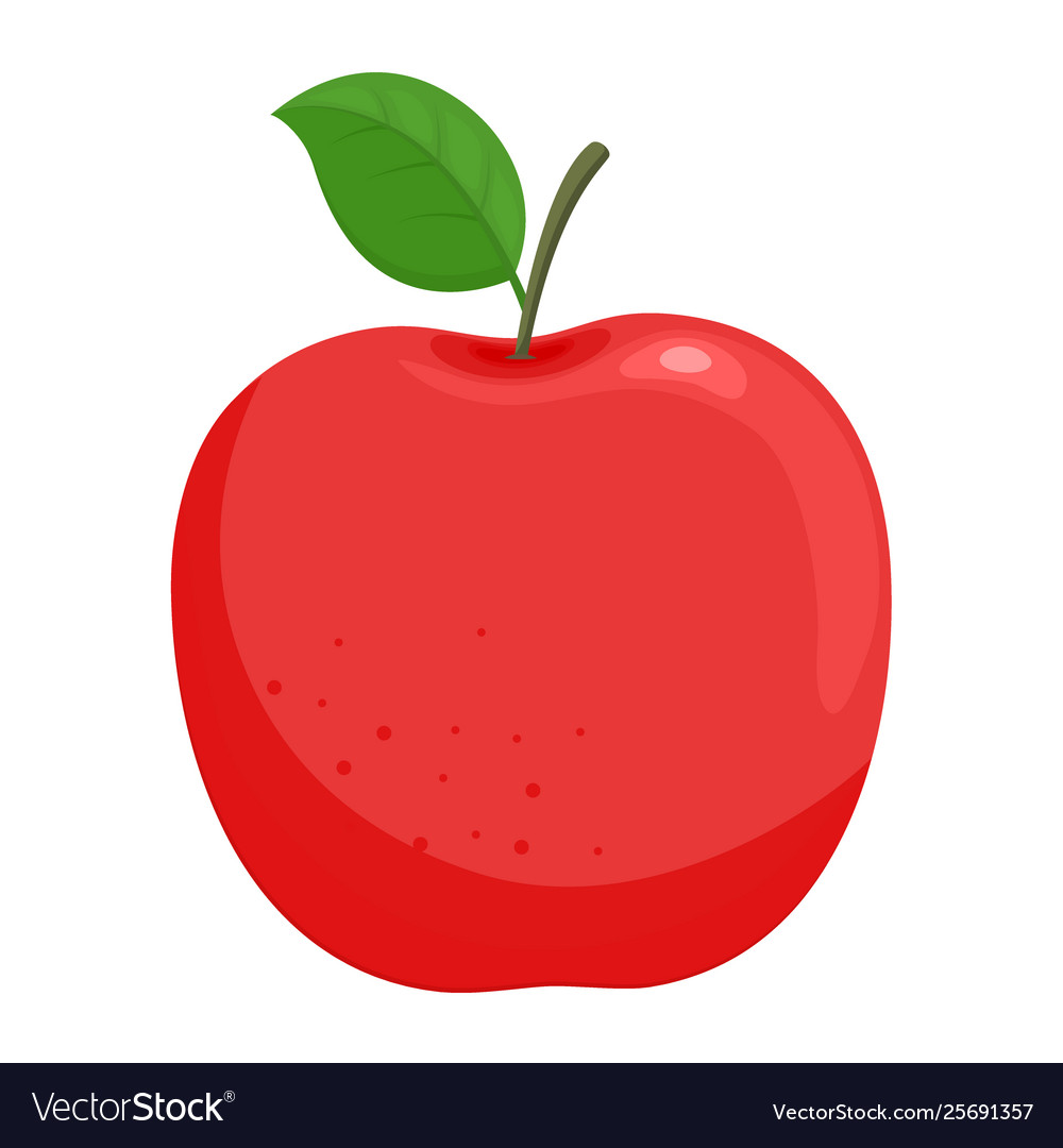 Red ripe apple with green leaf
