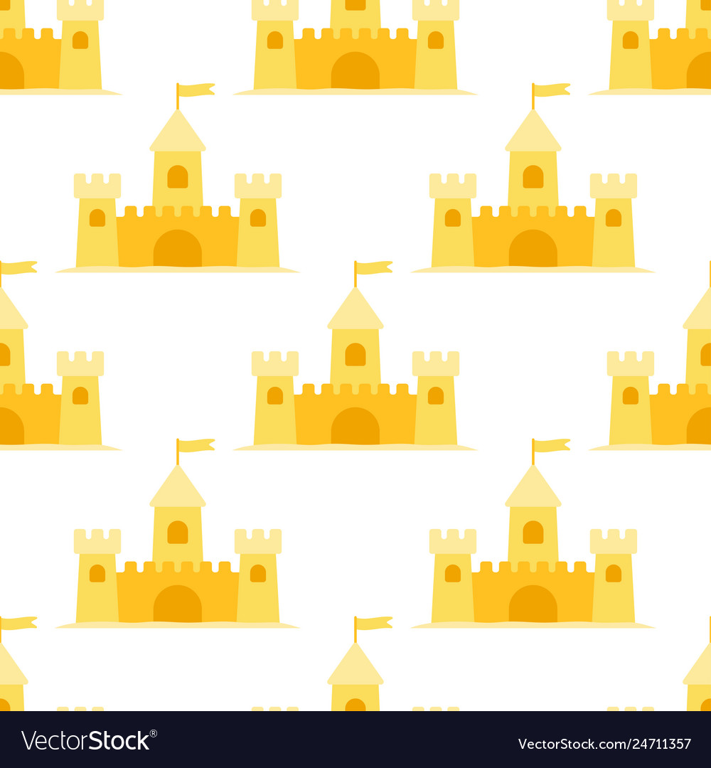 Sand castle seamless pattern