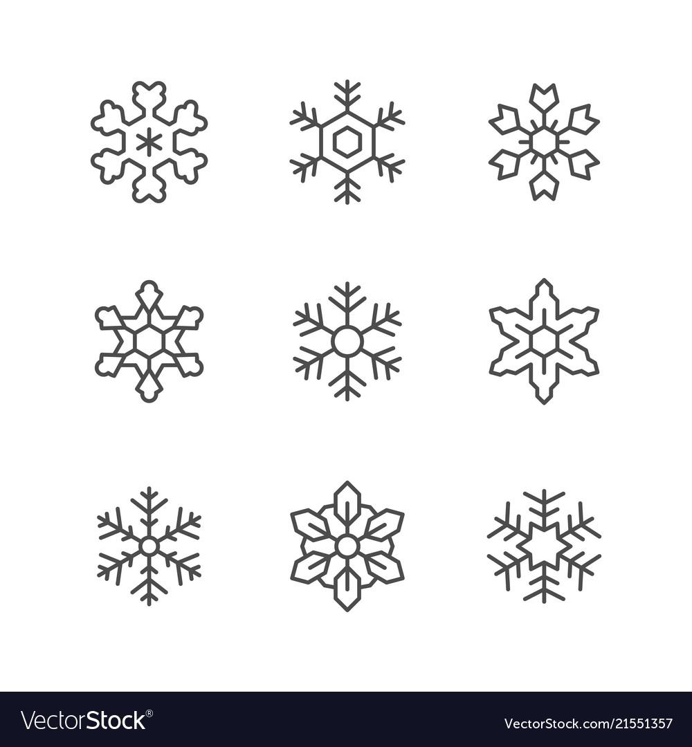 Set line icons of snowflake