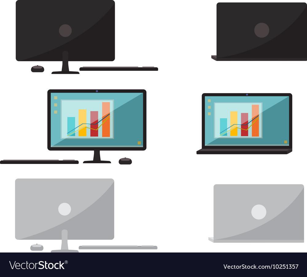 Set of flat design computer and laptop