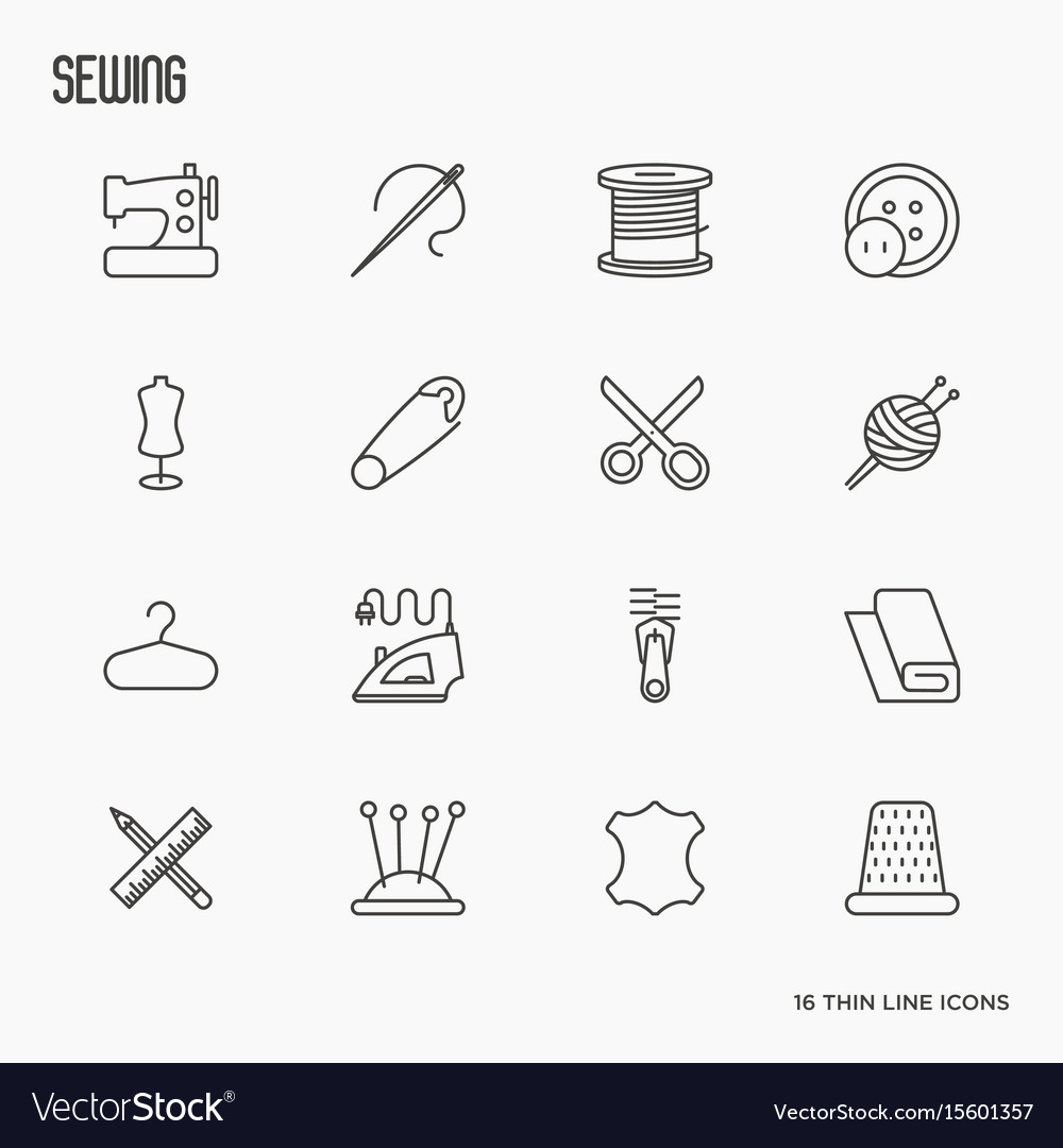 Sewing equipment thin line icons set