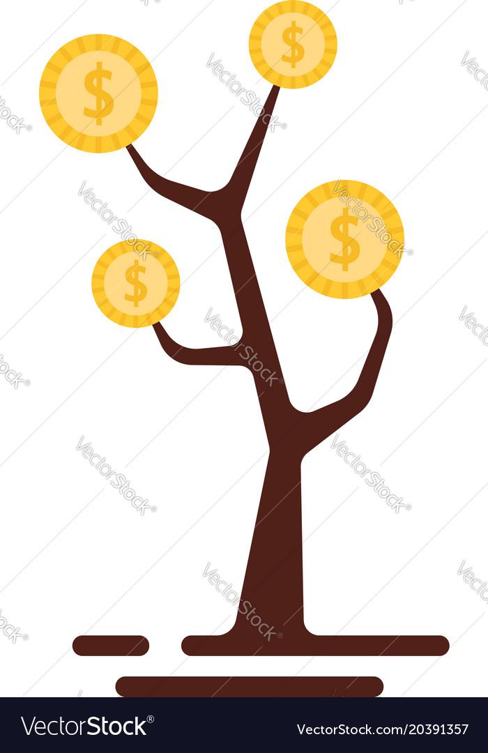 Simple money tree logo isolated on white