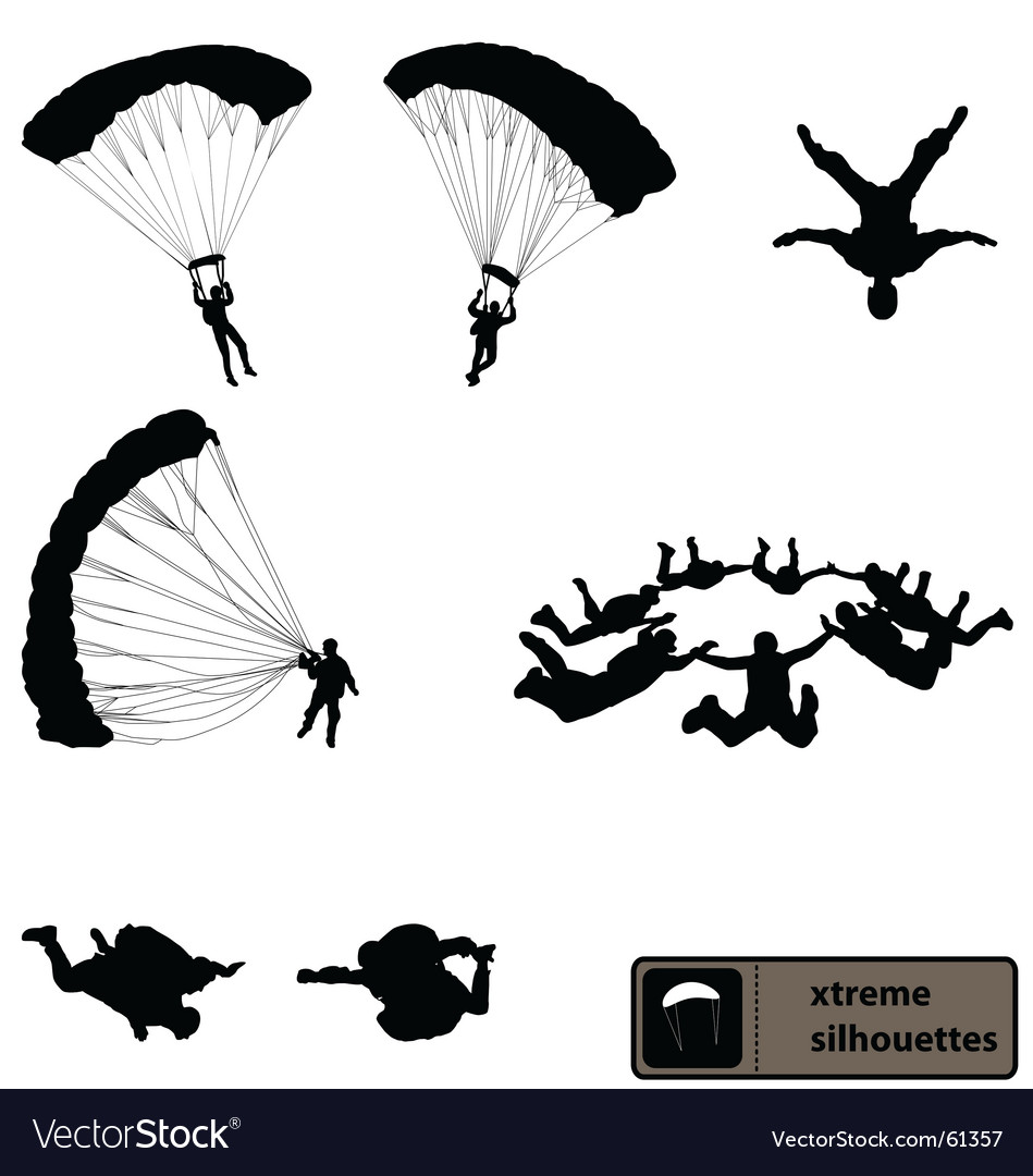 Skydiving silhouettes vector image